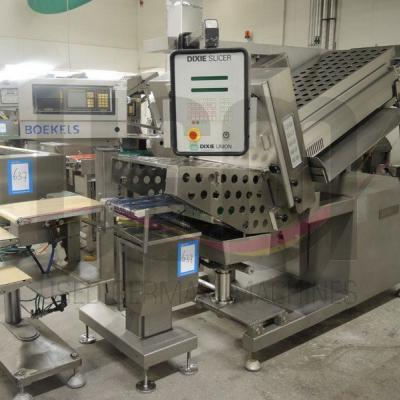 Used Dixie Slicer with a checkweigher from Boekels and an outfeed conveyor